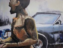Boy and Car, 2012 43″ x 57″ Mix Media on Canvas