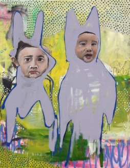"cousins in rabbits suits, 2014 36""x 48"" oil and spray paint on canvas"