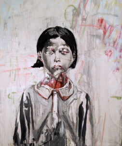 "Girl, 2010 64""x54"" Acrylic, chalk, oil, spray paint with attached fibers on canvas (sold)"