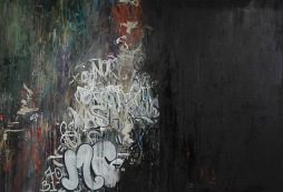 "Forever Found, 2013 60"" x 87"" Oil and Spray Paint on Canvas"