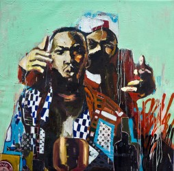 "Only Built For Cuban Linx, 2013 47"" x 48"" Mixed Media on Canvas (sold)"