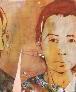 "portrait of a lady, 2009 58""x44"" mixed media on canvas"